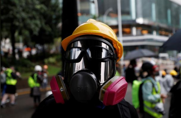A masked protester attends an anti-government rally in central Hong Kong.
