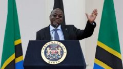 Tanzania's President John Magufuli addresses a news conference during his official visit to Nairobi.