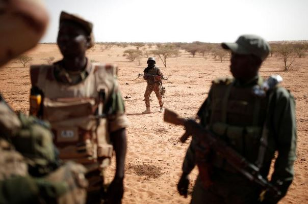 Troops from the Malian Armed Forces conduct an operation near Tin Hama, Mali.