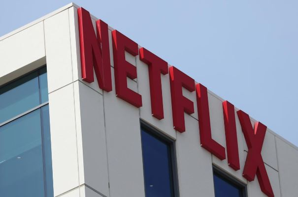 The Netflix logo is seen on their office in Hollywood, Los Angeles, California.