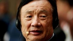 Huawei founder Ren Zhengfei attends a panel discussion at the company headquarters in Shenzhen.