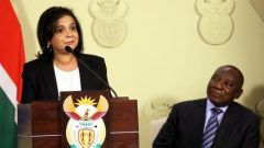 Shamila Batohi makes a speech after being named the country's new chief prosecutor by President Cyril Ramaphosa.
