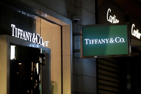The logo of U.S. jeweller Tiffany & Co. is seen at a store in Nice.