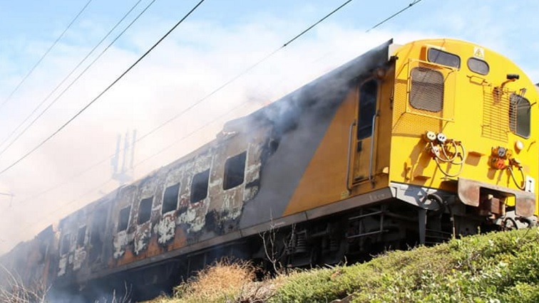 SABC News Train.jpg Twitter@Glencaire - Train catches fire at Simon's Town station