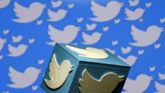 A 3D-printed logo for Twitter is seen in this picture illustration made in Zenica, Bosnia and Herzegovina.