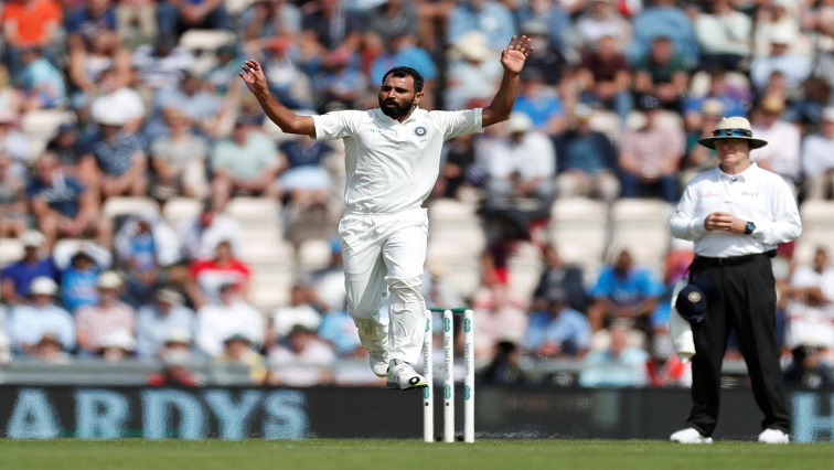 Mohammed Shami reacts to a dropped catch Action