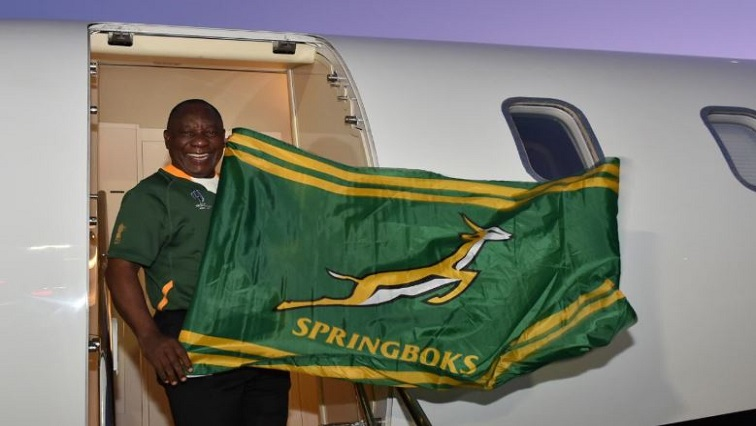 President CyrilRamaphosa departing from South Africa for Yokohama, Japan where he will lead the nation's support for the Springboks in their Rugby World Cup final against England.