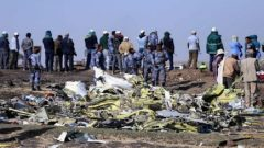 Ethiopian Federal policemen stand at the scene of the Ethiopian Airlines Flight ET 302 plane crash, near the town of Bishoftu.
