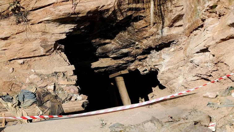 An entrance to an underground gold mine is seen in Langlaagte, South Africa.