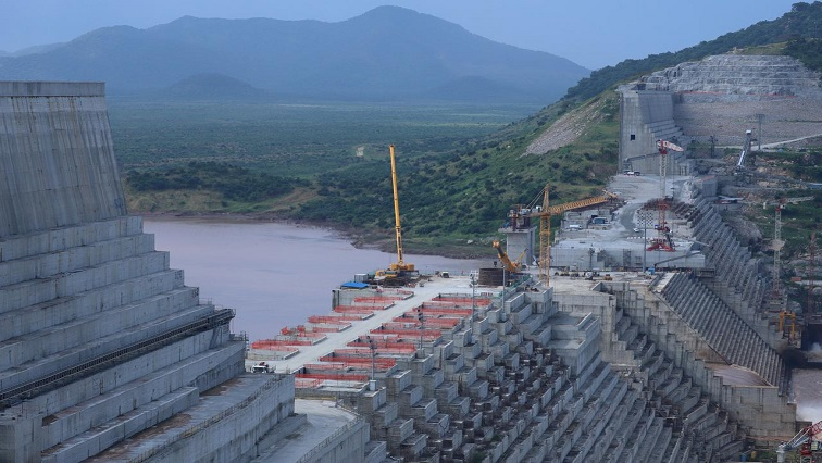 Ethiopia's Grand Renaissance Dam is seen as it undergoes construction work on the river Nile in Guba.