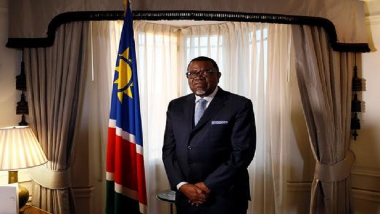 President Hage Geingob of Namibia poses for a photograph before an interview with Reuters in central London.