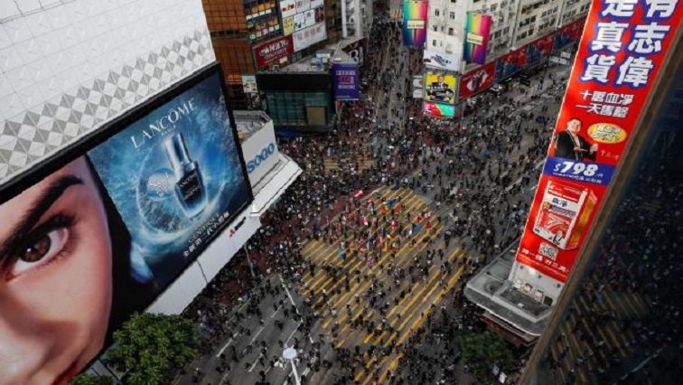 "Protesters gather for a march billed as a global ""emergency call"" for autonomy, in Hong Kong, China."