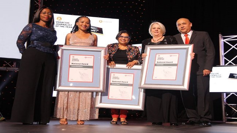In the Opinion category at tonight's #VJOY19 awards is your winning team from SABC News, Olwethu Matsipane, Krivani Pillay, and Deidre Uren 🙌 a well-earned victory.