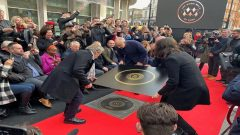 Pete Townshend and Roger Daltrey of The Who attend the unveiling of the founding stone of the new Music Walk of Fame in London.