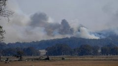Smoke from a large bushfire is seen outside Wytaliba
