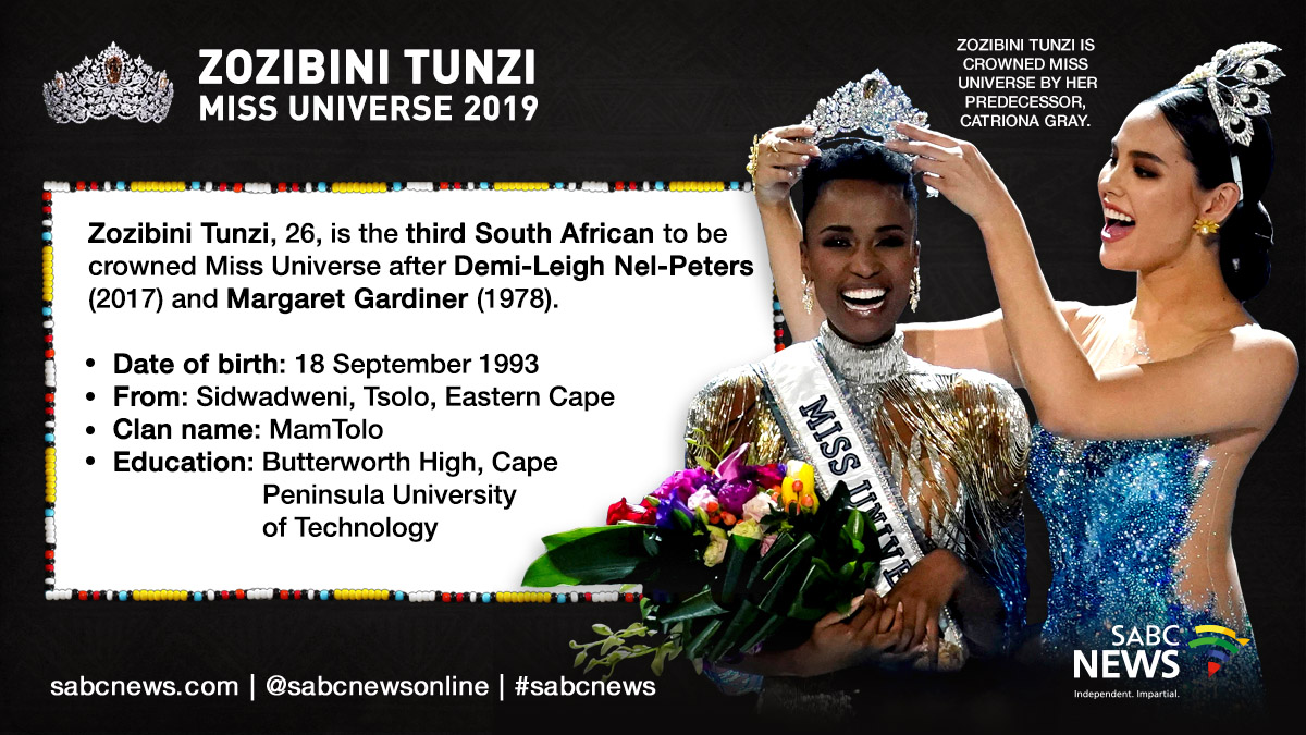 191209 Miss Universe Fast facts - 'Tunzi has made the people of South Africa very proud'