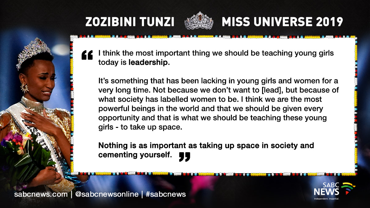 191209 Miss Universe Quote - 'Tunzi has made the people of South Africa very proud'