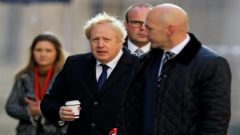 Britain's Prime Minister Boris Johnson visits the scene of a stabbing on London Bridge, in which two people were killed, in London.