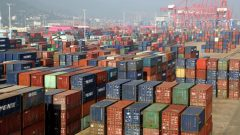 Containers are seen at a port in Lianyungang, Jiangsu province, China.