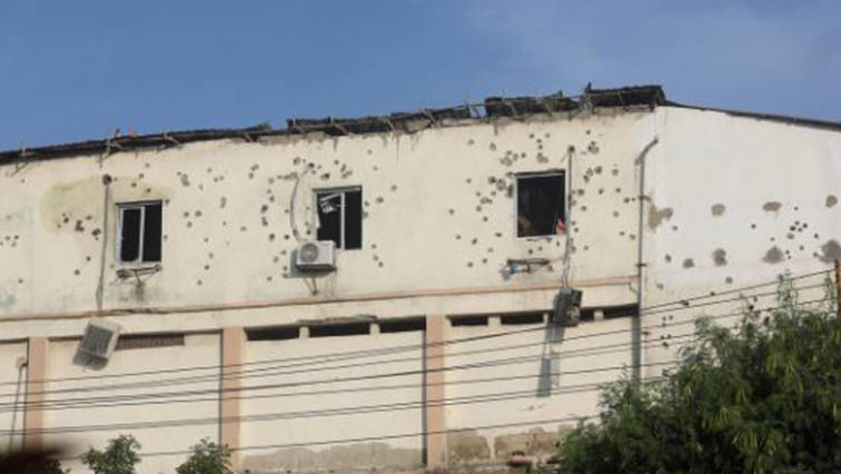 Bullet holes are seen around the windows of the SYL hotel after fighting between Somali security forces and Al Shabaab gunmen, who lunched an attack on the hotel near the presidential residence in Mogadishu, Somalia.
