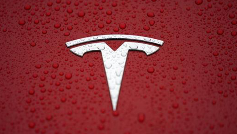 A Tesla logo is seen at a groundbreaking ceremony of Tesla Shanghai Gigafactory in Shanghai.