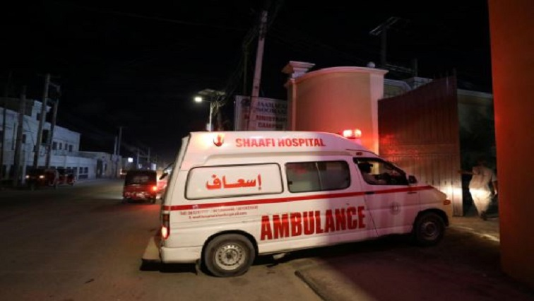 An ambulance carrying an injured person from an attack by Al Shabaab gunmen on a hotel near the presidential residence arrives to the Shaafi hospital in Mogadishu, Somalia.