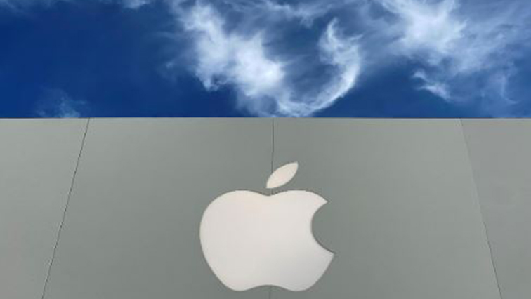 The Apple logo is shown atop an Apple store at a shopping mall in La Jolla.