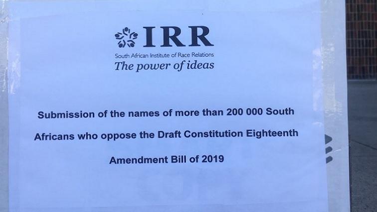SABC News IRR.jpg Twitter@ - IRR hands over signatures opposing land expropriation bill