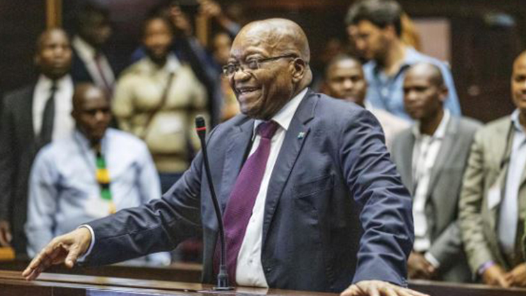 Former South African President Jacob Zuma appears in court where he faces charges that include fraud, racketeering and money laundering in Pietermaritzburg.
