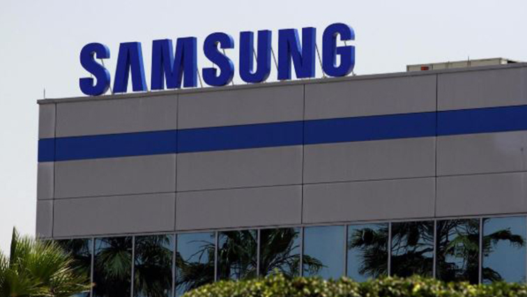 The logo of Samsung Electronics is pictured at the company's factory in Tijuana, Mexico.