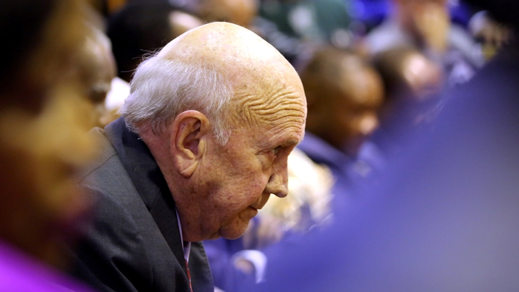 Reuters Former South African President FW de Klerk looks on as President Cyril Ramaphosa attempts to deliver his State of the Nation address at parliament in Cape Town - FW de Klerk's statement on apartheid sparks condemnation from all sectors