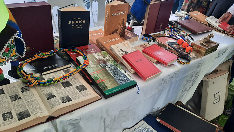 Books showcased at the International Mother Tongue Day celebration in KwaMbonambi, in KwaZulu Natal