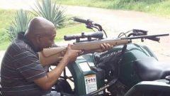 Former president Jacob Zuma firing rifle