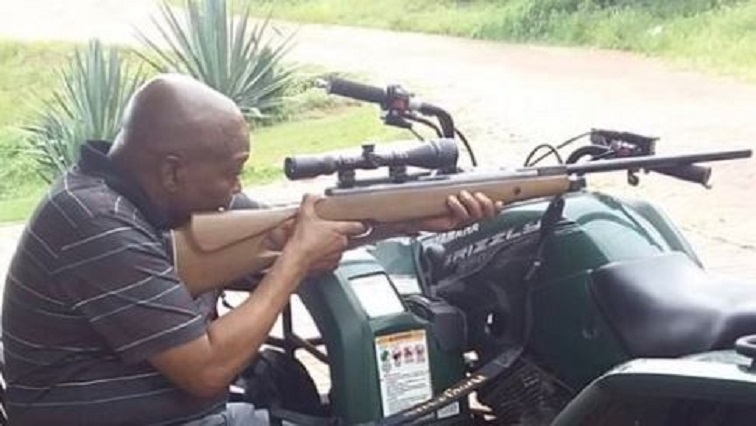 Former president Jacob Zuma firing rifle