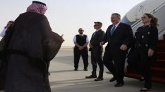 U.S. Secretary of State Mike Pompeo arrives at the King Khalid International Airport.