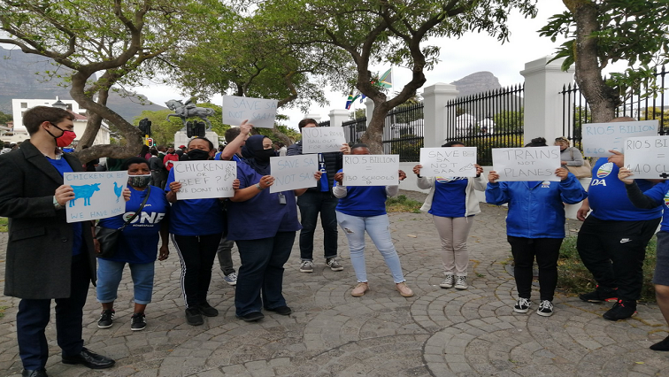 DA Twitter @ChrisMabuya - Various groups stage pickets outside Parliament ahead of the Medium-Term Budget Speech