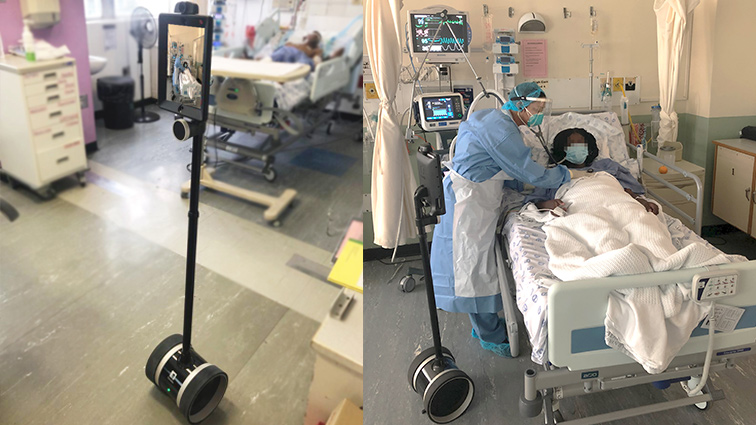 Lebo robbot new - Robot at Tygerberg Hospital connecting COVID-19 patients with their families