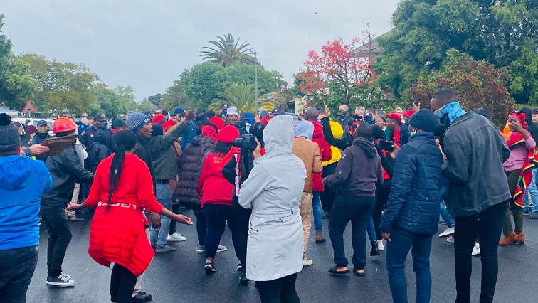 SABC News EFF Brackenfell Twitter @EFFWesternCape  1 1 - Police prevent PAC members from protesting at Brackenfell High