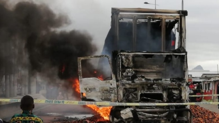 SABC News Protest - Three buses and a truck torched during violent protests in Khayelitsha