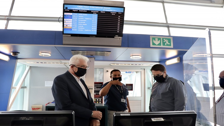 SABC News Winde at CT Airport Twitter - Winde gives Cape Town International Airport thumbs up for its COVID-19 safety protocols