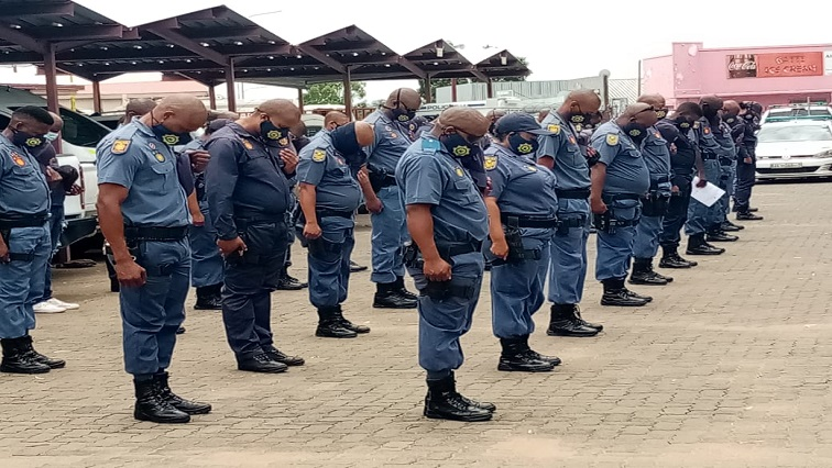 Police in masks Twitter @SAPoliceService - COVID-19 second wave weighing heavily on SA police: Naidoo