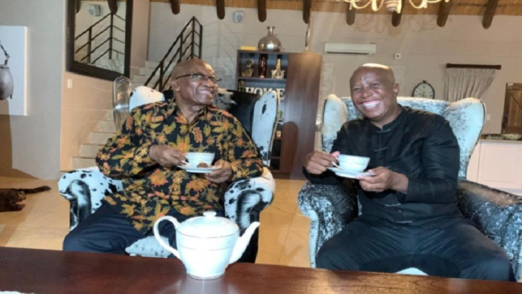 SABC News Malema Zuma Tea Twitter @EFFSouthAfrica - DA asks Speaker to investigate who paid for EFF's visit to Nkandla